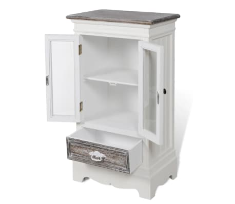 Cabinet 2 Doors 1 Drawer White Wood[4/8]