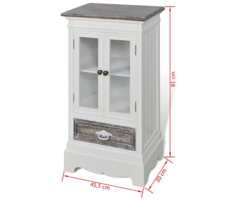Cabinet 2 Doors 1 Drawer White Wood[8/8]