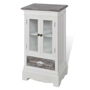 Cabinet 2 Doors 1 Drawer White Wood[3/8]