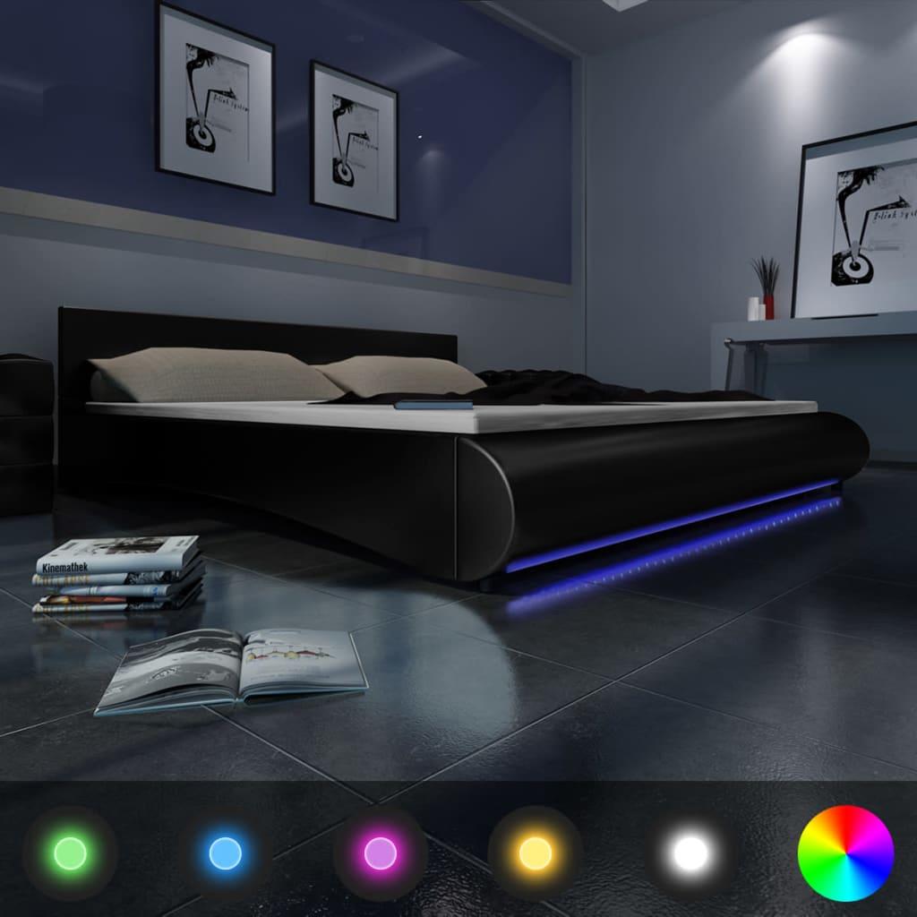 Černá postel umělá kůže 180 x 200 cm pás LED + matrace