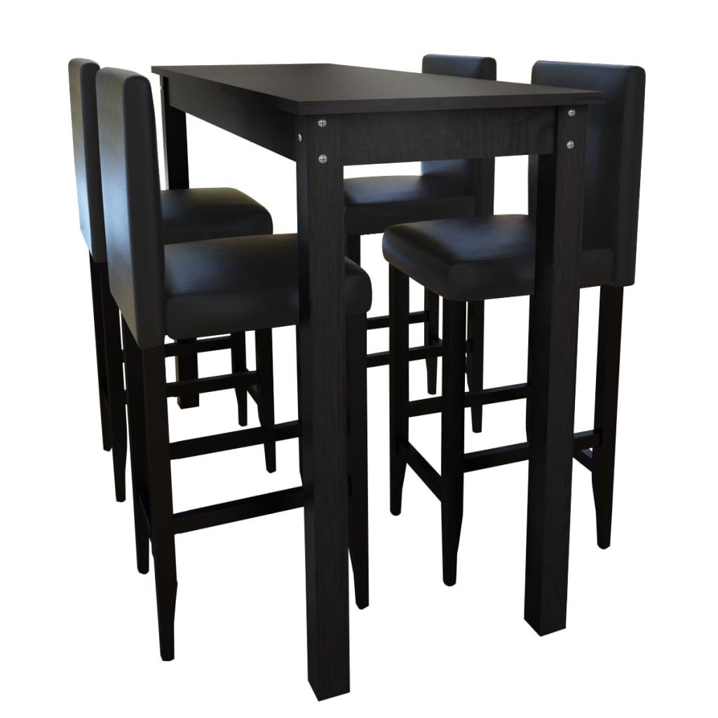 Barový stůl a 4 barové židle, černá