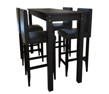 Set de 1 table de bar et 4 tabourets noir[1/8]
