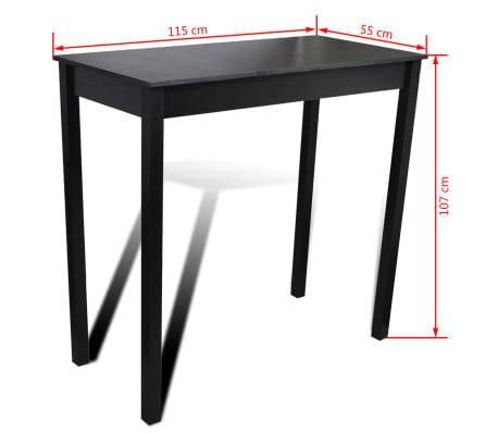 set de 1 table de bar et 4 tabourets noir. Black Bedroom Furniture Sets. Home Design Ideas