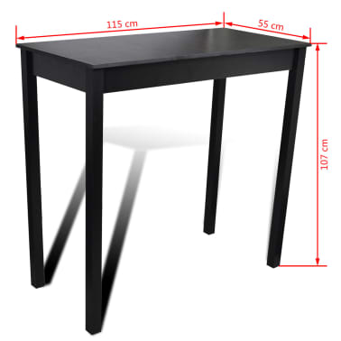 Set de 1 table de bar et 4 tabourets noir[7/8]