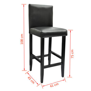Set de 1 table de bar et 4 tabourets noir[8/8]