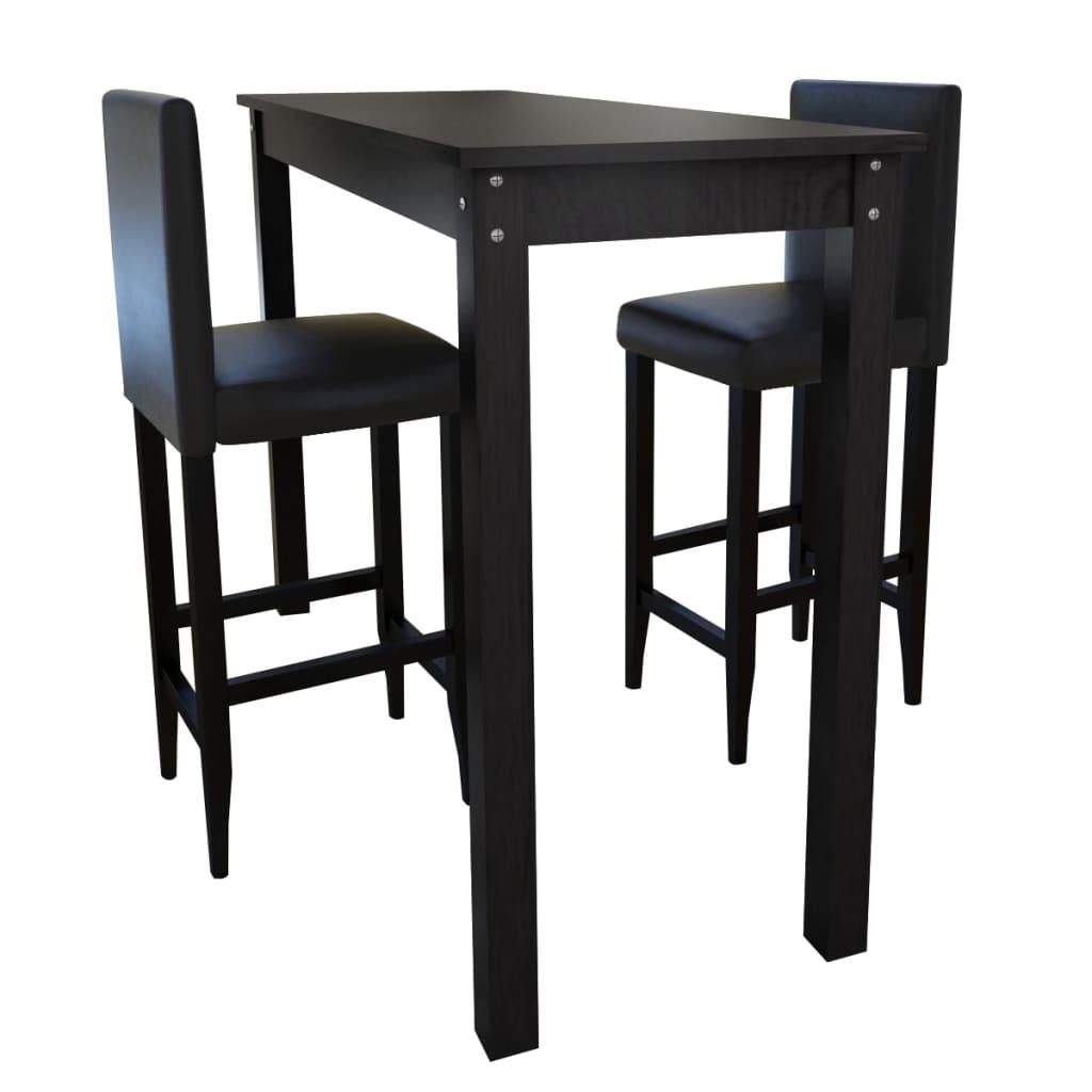 Černý barový stůl a 2 barové židle