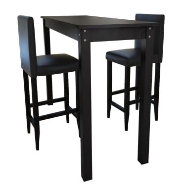 Baro stalas su 2 baro kėdėmis, juodos spalvos[1/8]