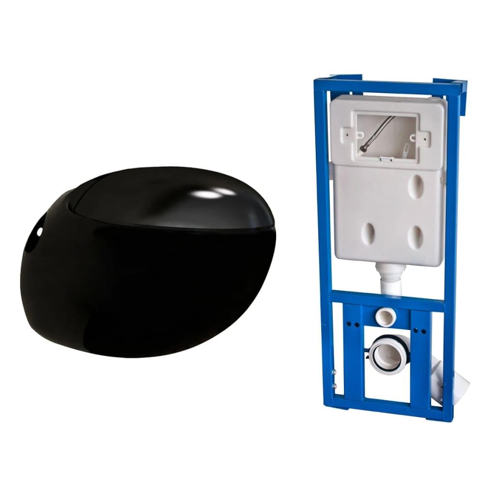 Nové závěsné bílé WC s tvarem vajíčka černé