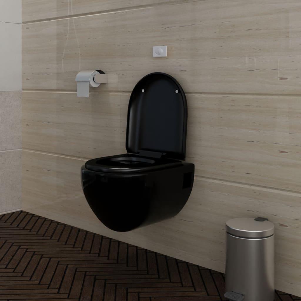 Nová závěsná toaleta s předstěnovým splachovacím systémem - černá