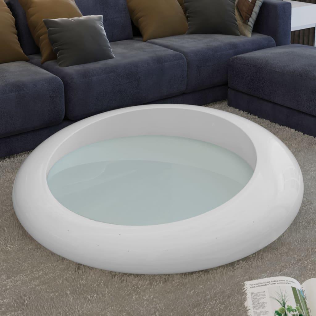 Konferenční stolek ze sklolaminátu, bílý kulatý, průměr 77 cm