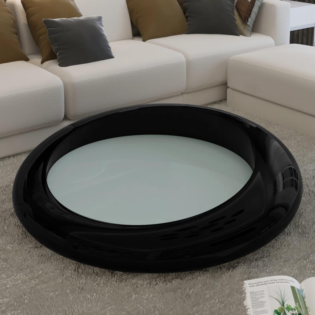 Konferenční stolek ze sklolaminátu, černý kulatý, průměr 77 cm