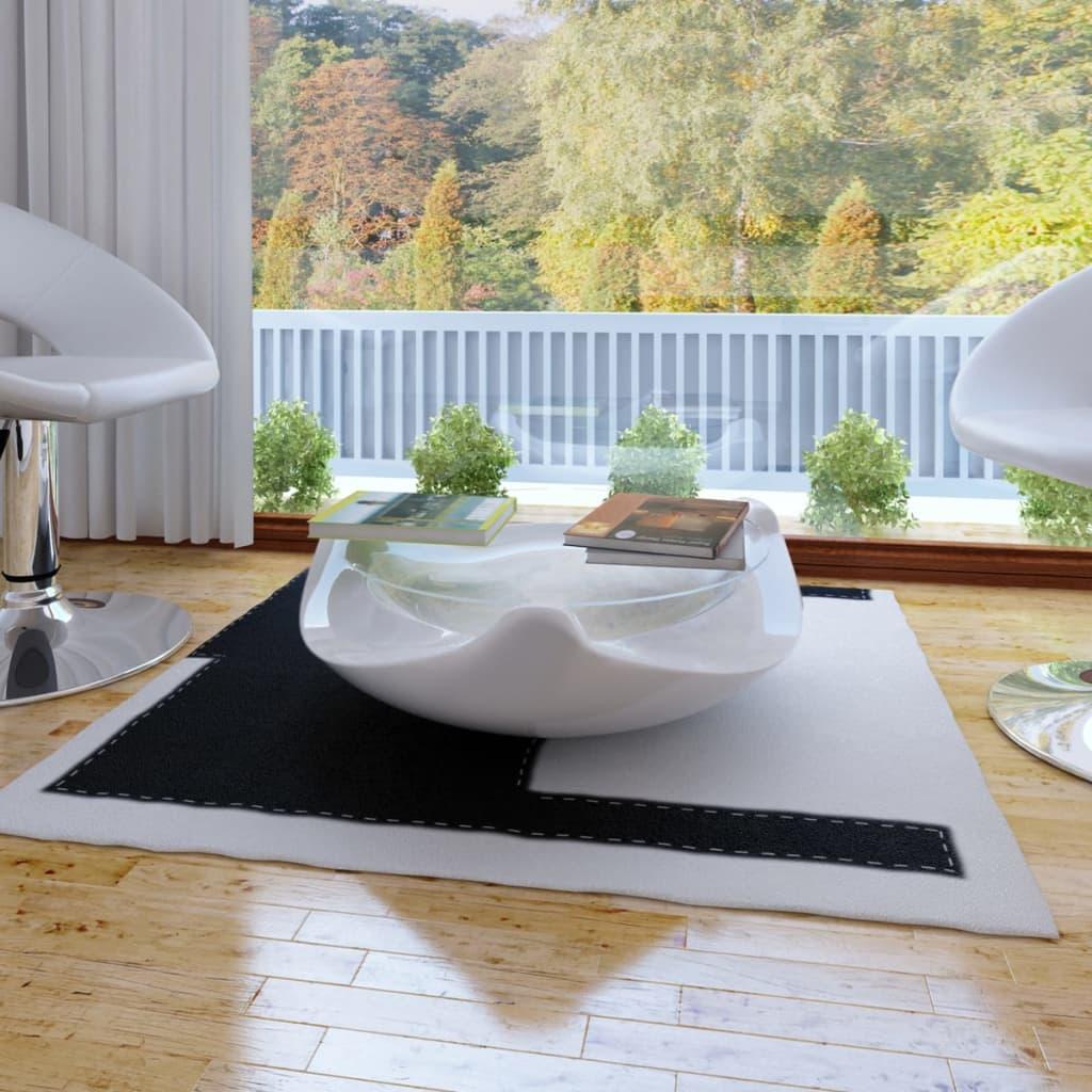 Konferenční stolek ze sklolaminátu, bílý kulatý s vysokým leskem