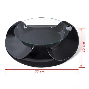 vidaxl couchtisch fiberglas mit runder glasplatte hochglanz schwarz g nstig kaufen. Black Bedroom Furniture Sets. Home Design Ideas