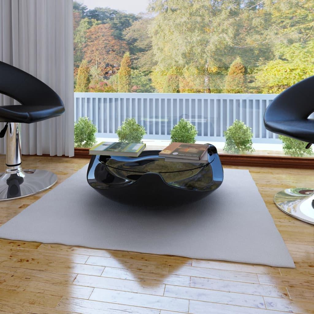 Konferenční stolek ze sklolaminátu, černý kulatý s vysokým leskem