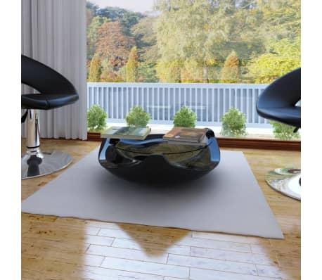 Vidaxl couchtisch fiberglas mit runder glasplatte hochglanz schwarz g nstig kaufen - Runder couchtisch mit glasplatte ...