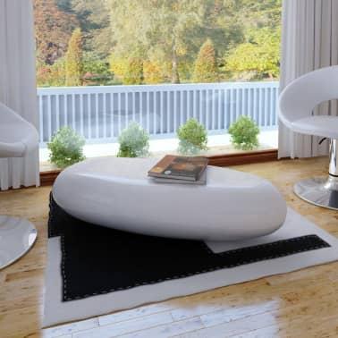 vidaXL Kavos staliukas, stiklo pluoštas, l.blizgus, balt.[1/4]