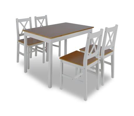 Tavolo Bianco E Sedie Marroni.Tavolo Da Pranzo Con 4 Sedie In Legno Bianco E Marrone