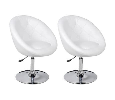 vidaXL Chaises de bar 2 pcs Blanc Similicuir