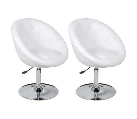 vidaXL Cadeiras de bar 2 pcs couro artificial branco