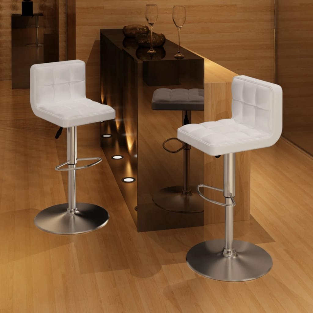 2 bílé barové židle, nastavitelná výška