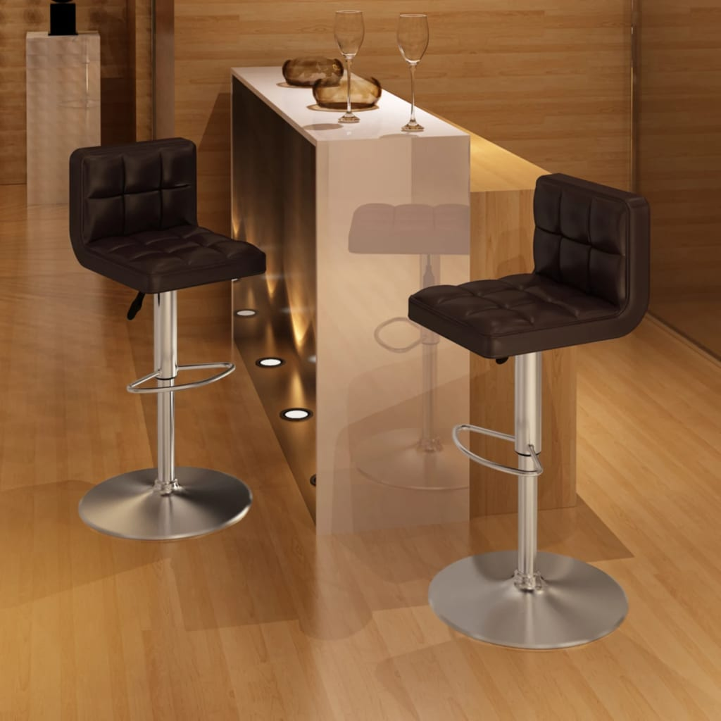 vidaXL 2 x Bar Stool Brown Height Adjustable