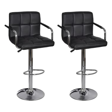 vidaxl tabouret de bar avec accoudoir 2 pcs noir. Black Bedroom Furniture Sets. Home Design Ideas