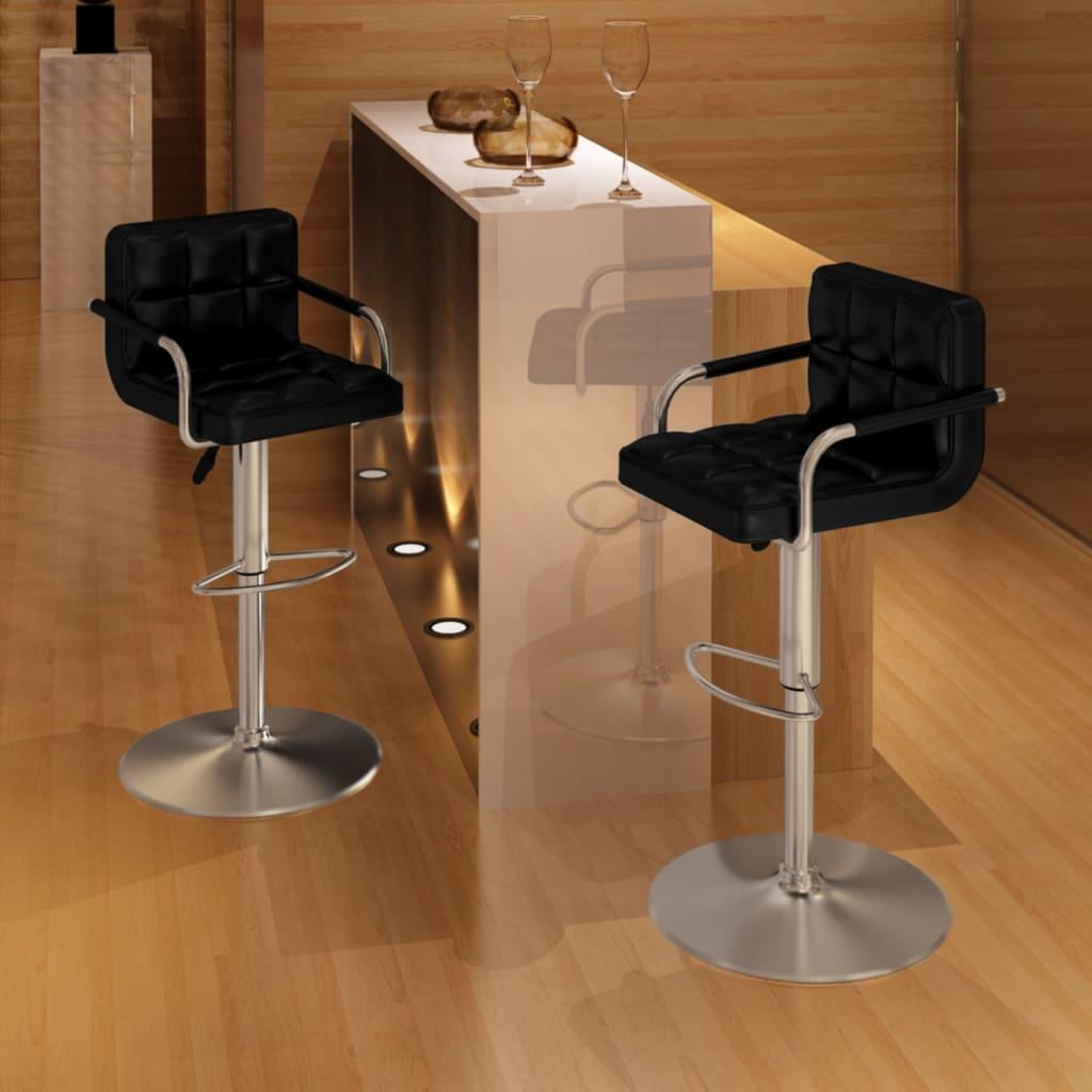 vidaXL Barové židle s područkami 2 ks, černá