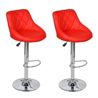 vidaXL Barová stolička, 2 ks, červená[2/8]