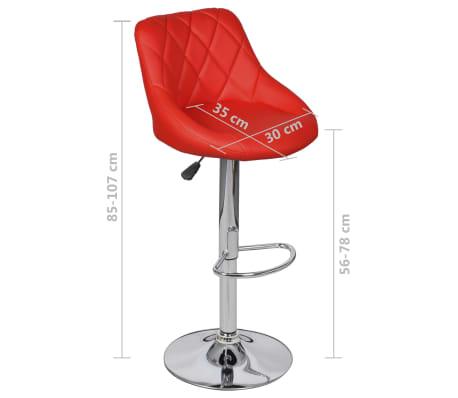 vidaXL Barová stolička, 2 ks, červená[8/8]