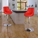 vidaXL Baro taburetės, 2 vnt., raudonos spalvos, dirbtinė oda