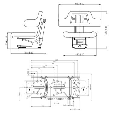 vidaXL Traktoriaus sėdynė su amortizatoriumi, juoda[9/9]