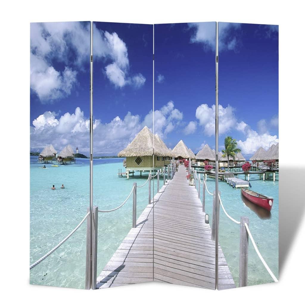 vidaXL Skládací paraván 160 x 170 cm pláž