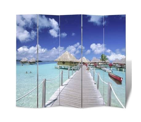 vidaXL Folding Room Divider Print 200 x 170 Beach[1/5]