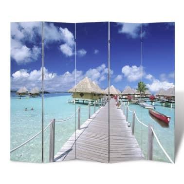 """Room Divider Beach Print 78.7"""" x 70.9""""[1/5]"""