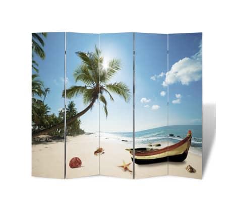 vidaXL Folding Room Divider Print 200 x 170 Beach[3/5]