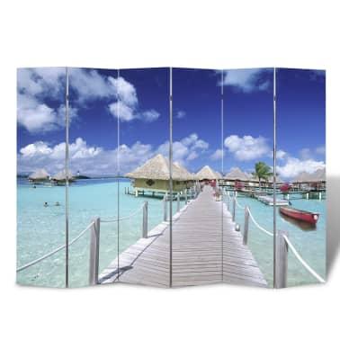 vidaXL istabas aizslietnis, 240x170 cm, saliekams, pludmales ainava[1/5]