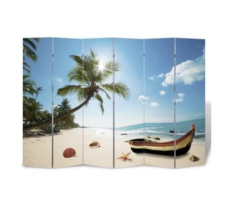 vidaXL istabas aizslietnis, 240x170 cm, saliekams, pludmales ainava[3/5]