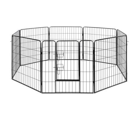 vidaXL løbegård til hunde 8 paneler stål[1/3]