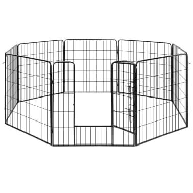 vidaXL løbegård til hunde 8 paneler stål[3/3]
