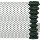 "vidaXL Chain Link Fence Galvanised Steel 4' 9""x49' 2"" Green"