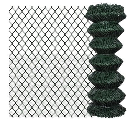 vidaXL Tinklinė tvora, žalia, 1x25m, cinkuotas plienas