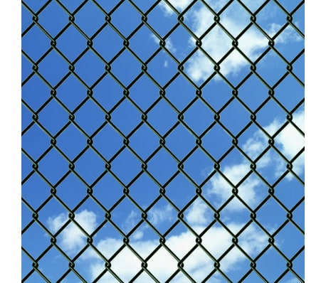 "vidaXL Chain Link Fence with Posts Galvanised Steel 3' 3""x49' 2"" Green[3/8]"