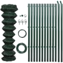 """vidaXL Chain Link Fence with Posts Galvanised Steel 4' 1"""" x 49' 2"""" Green"""