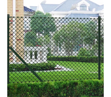 "vidaXL Chain Link Fence with Posts Galvanised Steel 3' 3"" x 82' Green[1/8]"