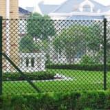 vidaXL Tinklinė tvora su stulpais, žalia, 1x25m, plienas