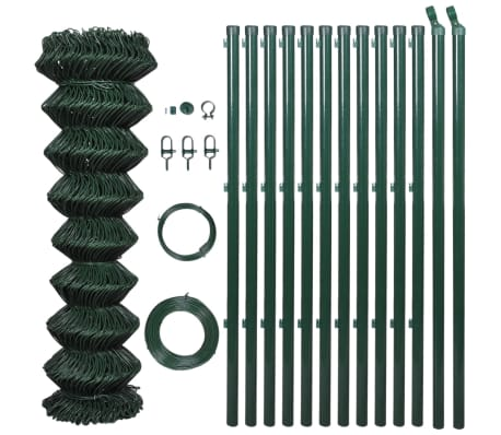 """vidaXL Chain Link Fence with Posts Galvanised Steel 4' 1"""" x 82' Green"""