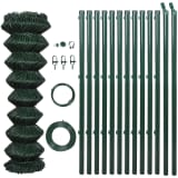 140358 vidaXL Chain Link Fence with Posts Steel 1,25x25 m Green