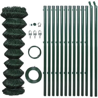 """vidaXL Chain Link Fence with Posts Galvanised Steel 59.1""""x 984.3"""" Green[2/8]"""