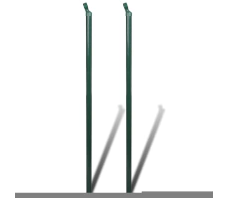 """vidaXL Chain Link Fence with Posts Galvanised Steel 59.1""""x 984.3"""" Green[7/8]"""