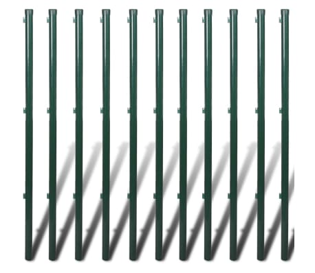 """vidaXL Chain Link Fence with Posts Galvanised Steel 59.1""""x 984.3"""" Green[8/8]"""